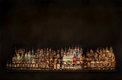 Dan Witz,  Bar Shrine II (triptych) 2009, oil and mixed media on canvas, 56 x 78 in.