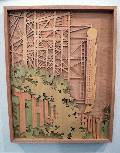 Part of La Familia, street art duo Thundercut exhibits this 3-D woodcut shadowbox (photo ©Steven P. Harrington)