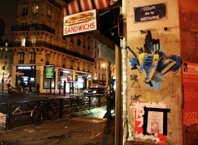 A collage by Orticanoodles in the Belleville neighborhood of Paris (photo courtesy Stencil History X)