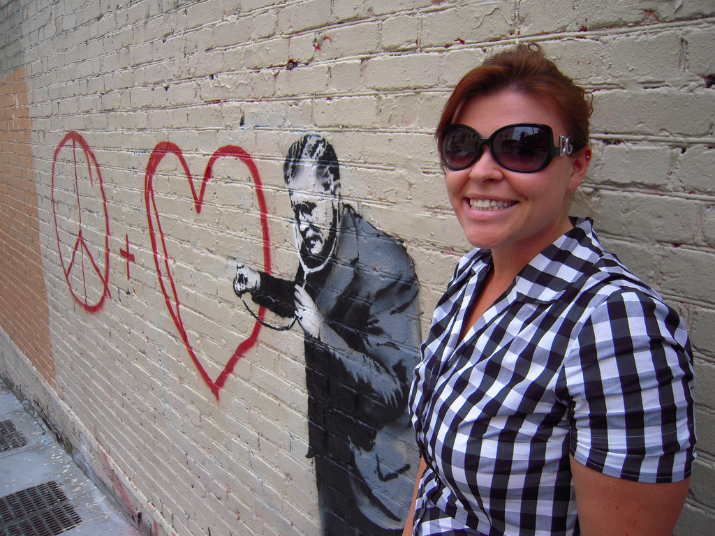 Kat Cuffe poses with Banksy