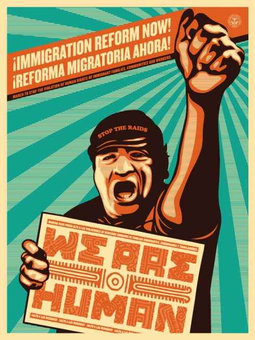 "From the Obeygiant.com website, ""The continual persecution and exploitation of immigrants continues to grow in the United States of America. Anti-immigrant laws like Arizona's SB1070 and national initiatives like Secure Communities and the 287(g) program have set this country back 60 years to a civil rights crisis. Hate crimes and racial hate groups are on the rise targeting latinos and immigrants, blaming these communities for the ales of society. On May 1st 2010 the voices of this community will be heard once again throughout this country denouncing the anti-immigrant sentiments. The purpose of these images and prints are to gain awareness and action to help change and improve immigration policy and perceptions. All the proceeds from these prints will go towards community based projects. """