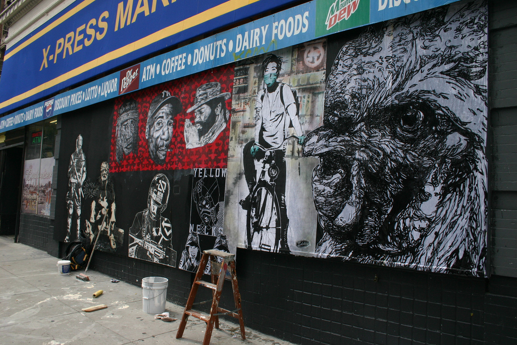 Gaia's rooster on the right along with Hugh Leeman, Eddie, Blek le Rat and DYV. (photo courtesy the artist)