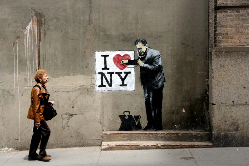 Banksy in lower Manhattan (image courtesy Stencil History X)
