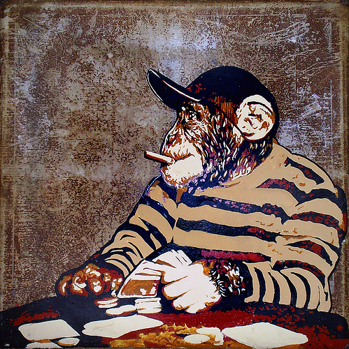"""Chimp Change"" by Mr. Prvt (mixed media on vintage fold-out poker table) (image courtesy Mr. Prvt)"
