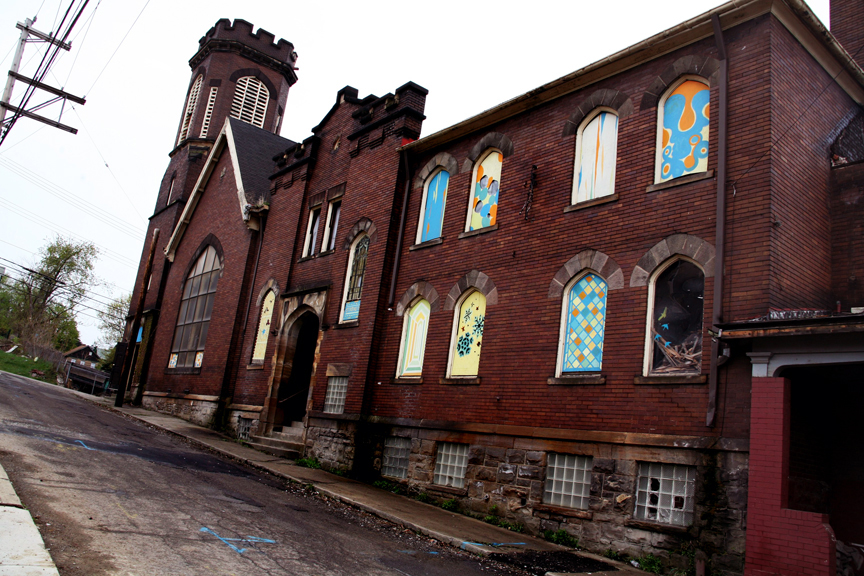 """An abandoned church now referred to as """"Transformazium"""" by Street Artist Swoon and some friends who recently purchased it for renovation in Braddock, PA. (photo © Salome Oggenfuss)"""