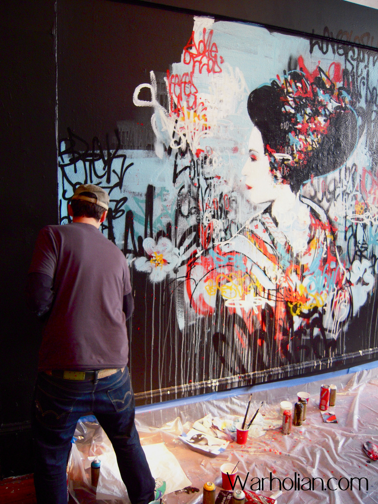 Hush uses graff and fine art elements - it's all fair game - along with Japanese graphic novels.