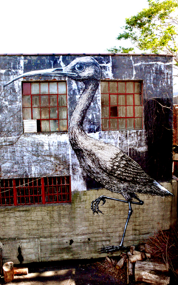 The finished Ibis by ROA in Brooklyn, NYC (photo © Jaime Rojo)
