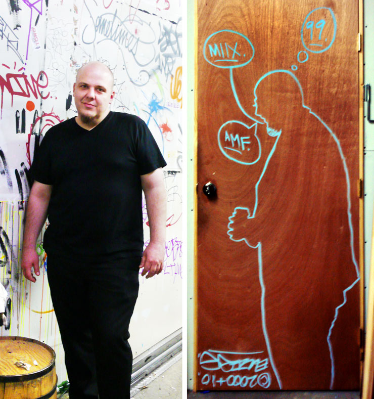 Me and my shadow. Andrew Michael Ford stands by a much loved wall in the studio and a view of his portrait by Street Artist Ellis G. on the door