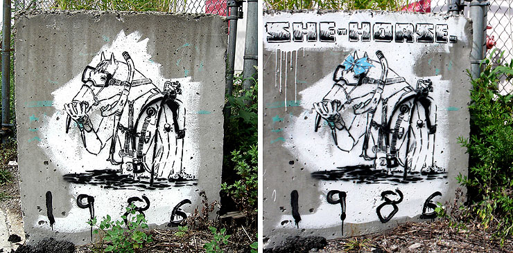 That's no mare! Specter re-genders the scuba diving horse of Street Art duo Faile (photos © Jaime Rojo)