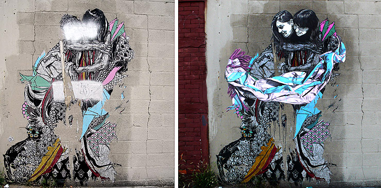 In this piece by Street Artist Swoon that has been up for perhaps two years and has sufferred wear, tear, and sprayed out faces, Specter meticulously repairs the visages and adds a bit of fabric. (photos © Jaime Rojo)