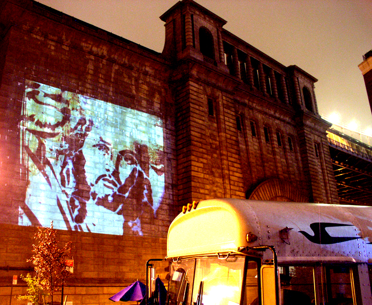Jesus Faile Projected on the Manhattan Bridge for DUMBO Arts Fest 2008 (Photo © Jaime Rojo)