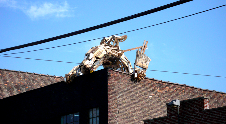 The Collective Robot created this sculpture on a rooftop in Bushwick with found wood. (Photo © Jaime Rojo)
