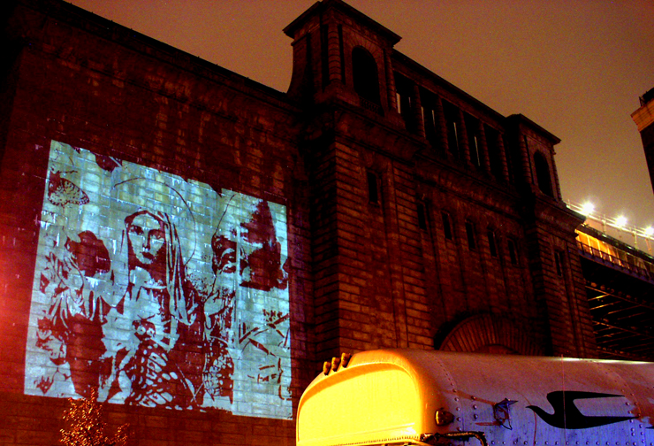 Projekt Projektor in Dumbo, Brooklyn as part of Under the Bridge Festival September 2008  Image of Mary by Faile  photo by Jaime Rojo for Brooklyn Street Art