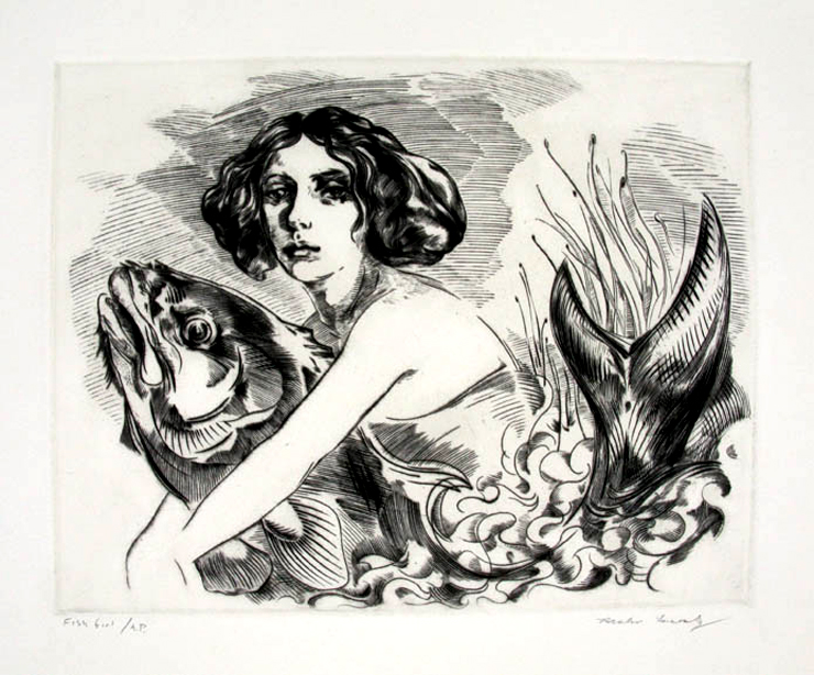 """Riche Lasansky ""Fish Girl"" engraving. copyright 2010. Image courtesy of the gallery"