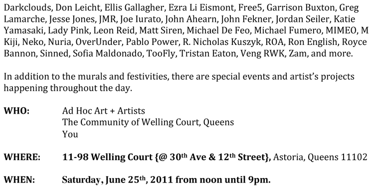 Ad Hoc Arts Presents: Welling Court 2011 (Queens, NY)