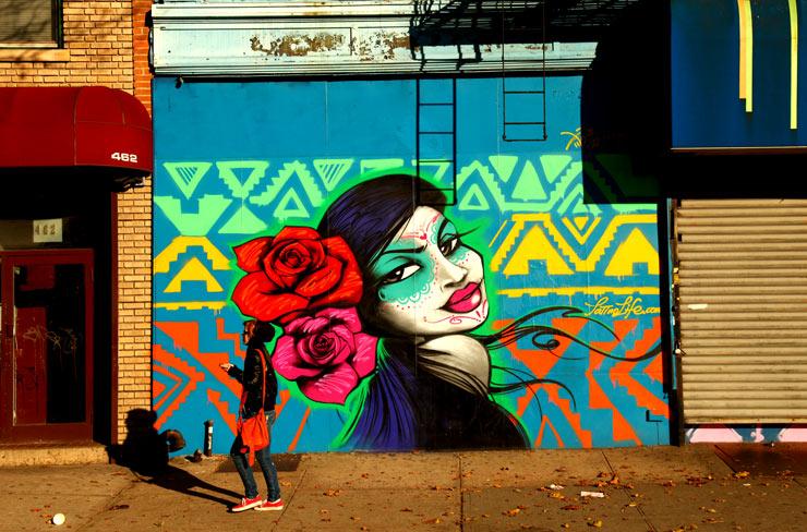 Images of the week brooklyn street art for Dia de los muertos mural