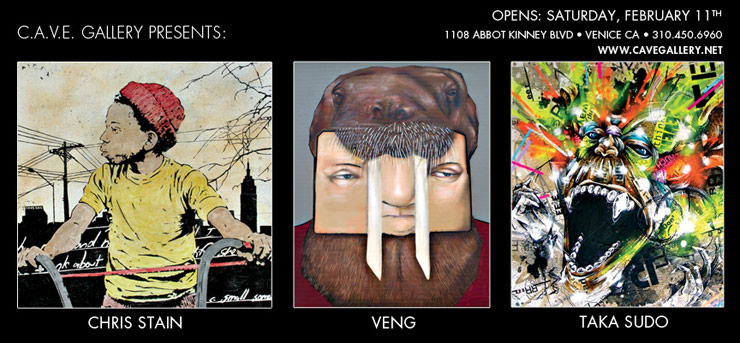 C.A.V.E. Gallery Presents: New Works By Chris Stain . Veng . Taka Sudo. (Venice Beach, CA)