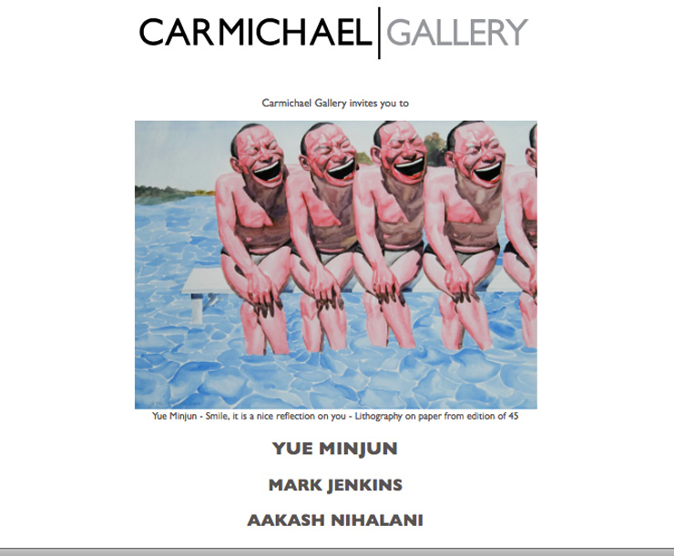 Carmichael Gallery Presents: Yue Minjun, Mark Jenkins and Aakash Nihalani. (Culver City, CA)