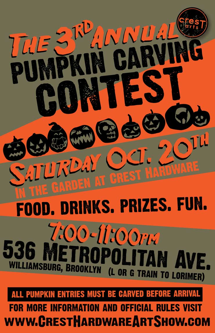 Crest Arts Presents: 3rd. Annual Pumpkin Carving Contest. (Brooklyn, NYC)
