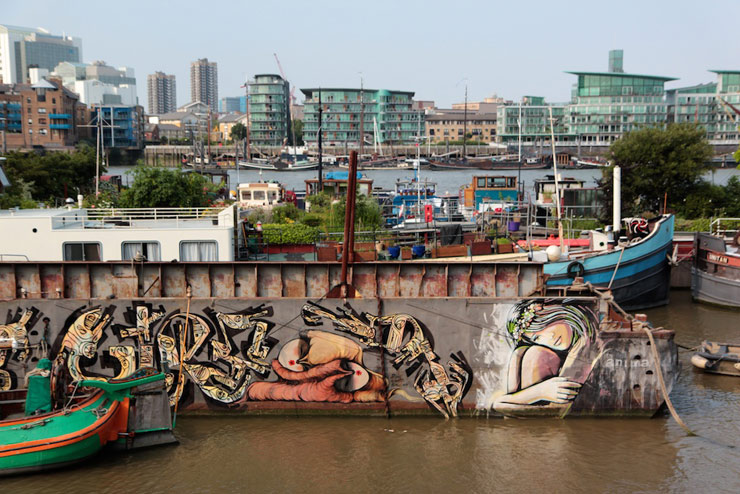 Street Walls and a Boat Too, Alice Pasquini Paints Around London