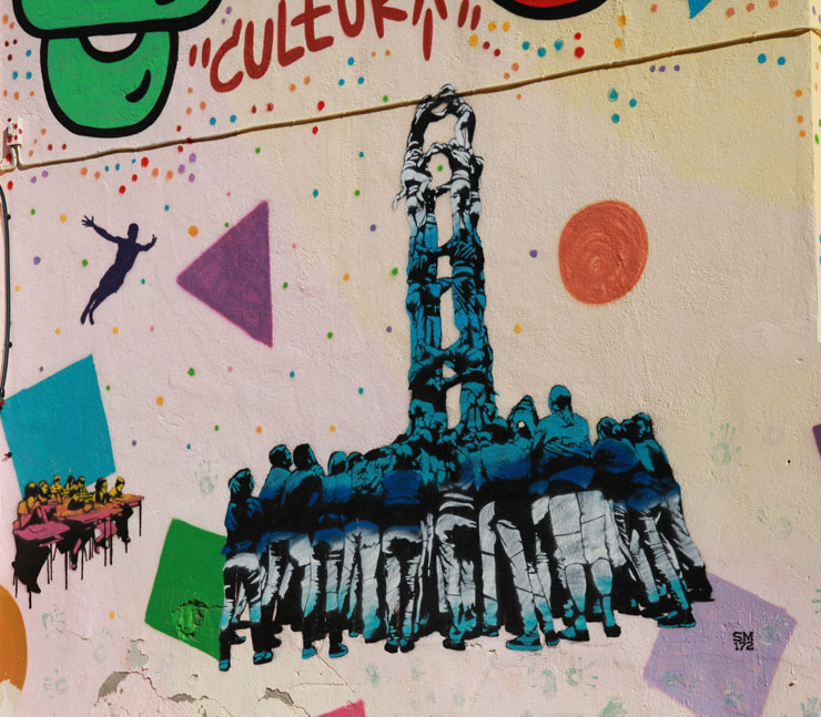 Castellers, Correfocs, and Stencil Art in Barcelona Streets