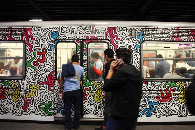 Keith Haring on a whole car on the Metro. Mexico City. (photo © Jaime Rojo) 0c2f8d352