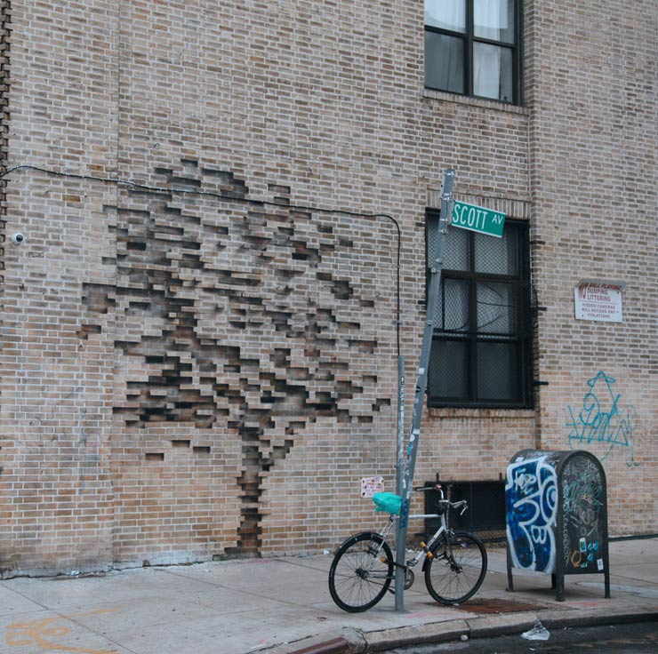 Pejac An Illusionary Tree Grows From The Bricks In Brooklyn