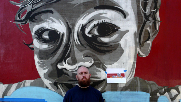 "Logan Hicks Creates ""Sailor"" His Largest Stencil Piece Ever"