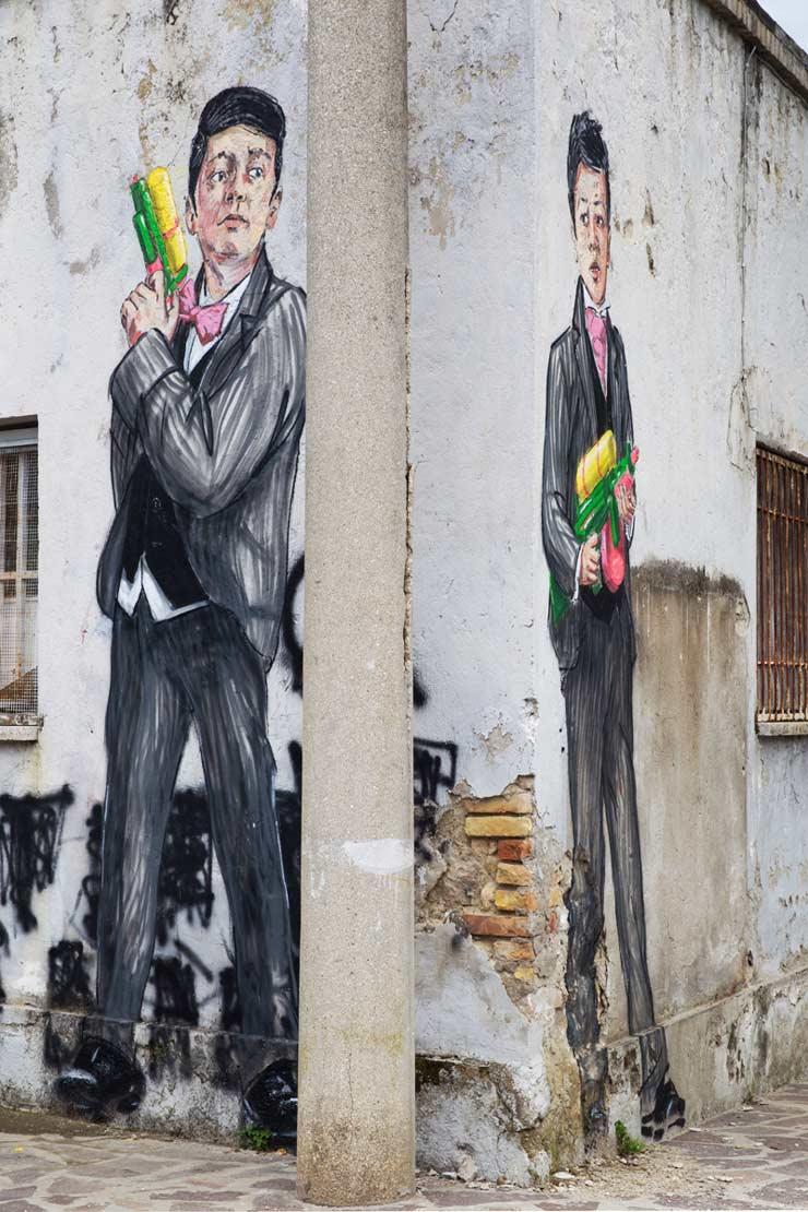 """Ernest Zacharevic """"Toy Mafia"""" in Gaeta, Italy"""