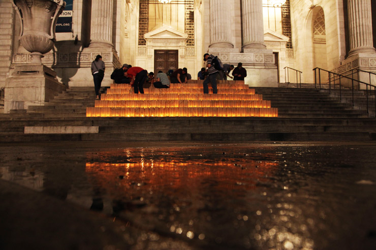 Hot Tea Lights Memorial Luminaries About Loss on Library Steps