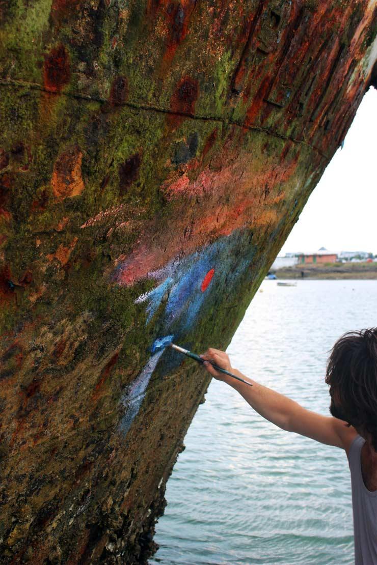 Monet Rising: Spanish Street Artist Pejac Impressionist Tribute on Ship