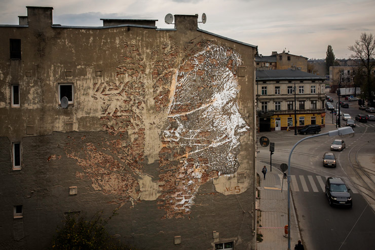 VHILS in Łódź Reveals Ghostly Profile Using Signature Destruction