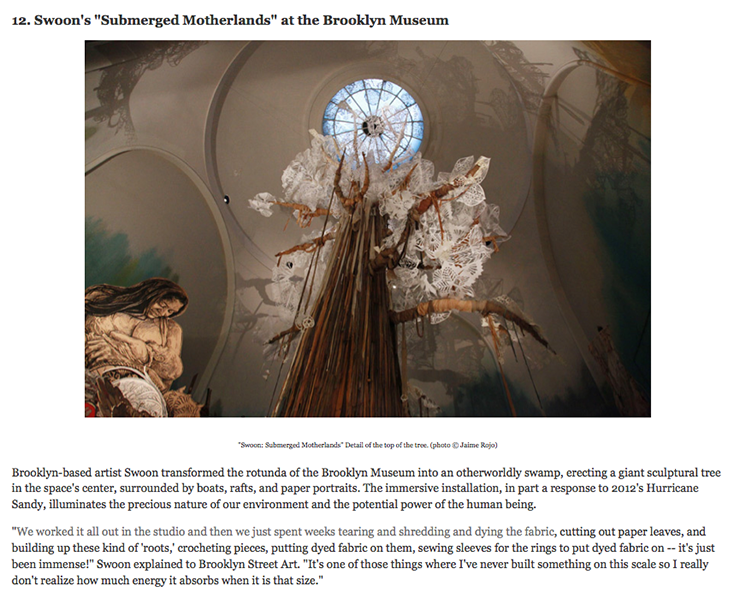 "A Top Exhibition for '14 on HuffPost: Swoon's ""Submerged Motherlands"""