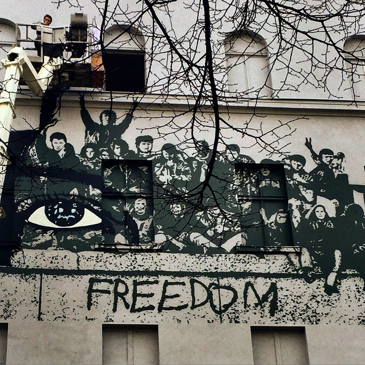 "Update: Berlin, Icy & Sot ""Freedom"" Mural Underway"