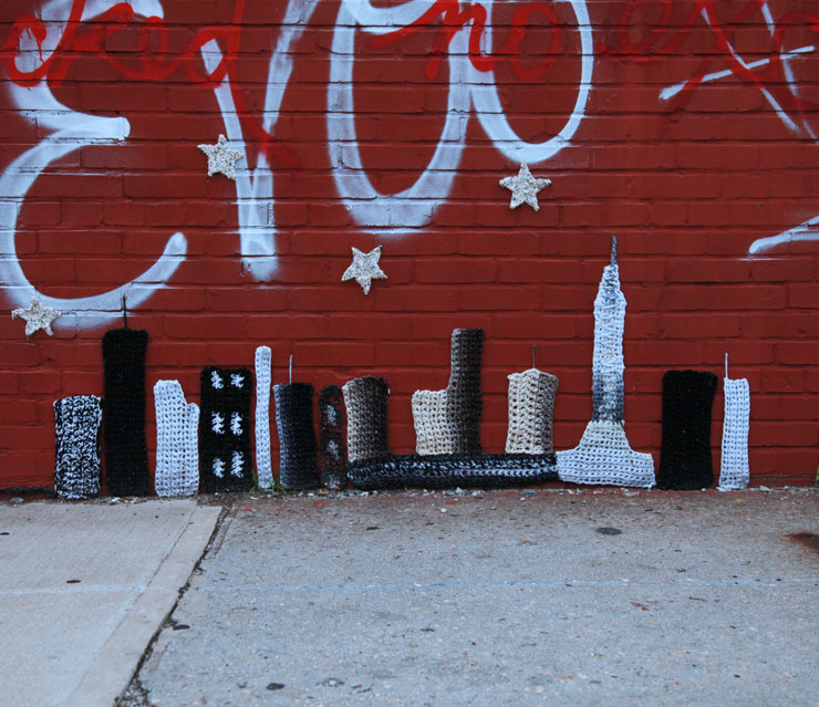 London Kaye's New York Skyline Crocheted on a Wall