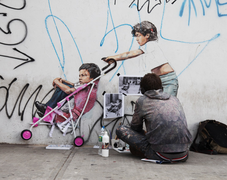 Ernest Zacharevic Painting Martha Cooper in Brooklyn