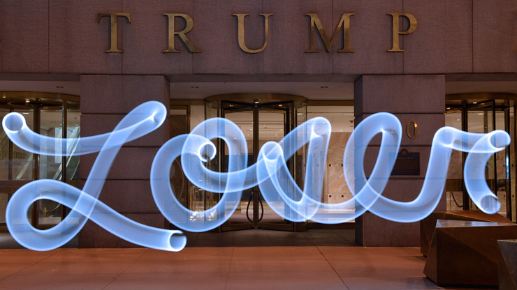 "Donald Trump ""Loser"" by Artist Vicki Da Silva in Front of His Building"