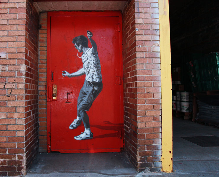 STRØK Stencils Ernest Zacharevic Playing in a Brooklyn Doorway