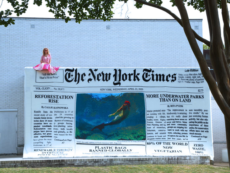 "Olek Crochets The New York Times: ""Good News"" At Virginia MOCA"