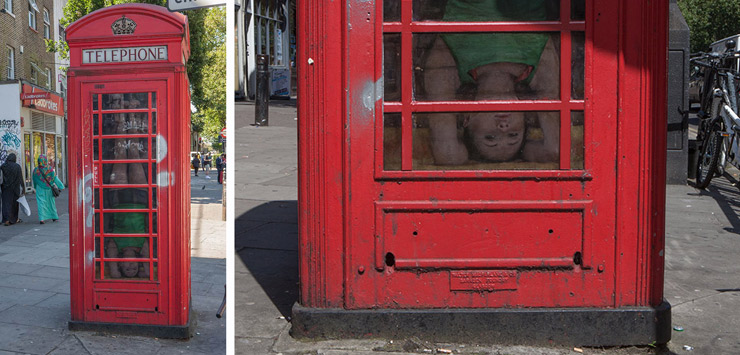 "Dan Witz's ""Breathing Room"" Installs Meditating Figures in 10 London Phone Booths"