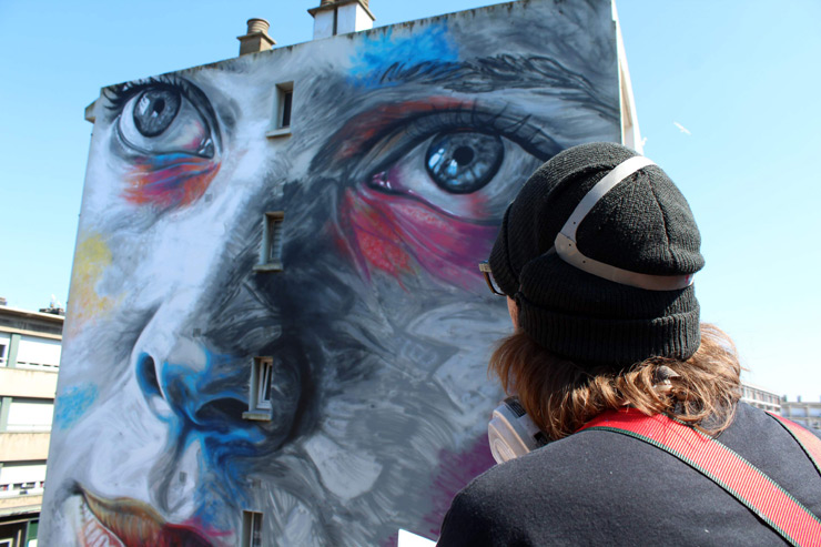 David Walker Contemplates the Role of His Mural in a French City
