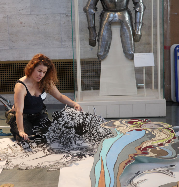 """Swoon's """"Thalassa"""" Rises at DIA Detroit; Gallery Show, Mural to Come"""