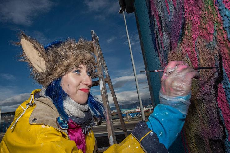"""Icelandic Murals, Northern Lights, """"Wall Poetry 2016"""" in Reykjavik"""