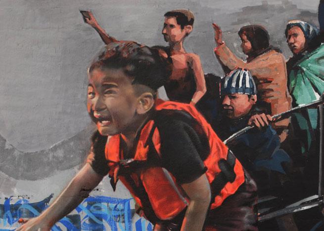 "Sebastien Waknine, Rubicon1, Mugraff ""Journey of a Refugee"" in Barcelona"