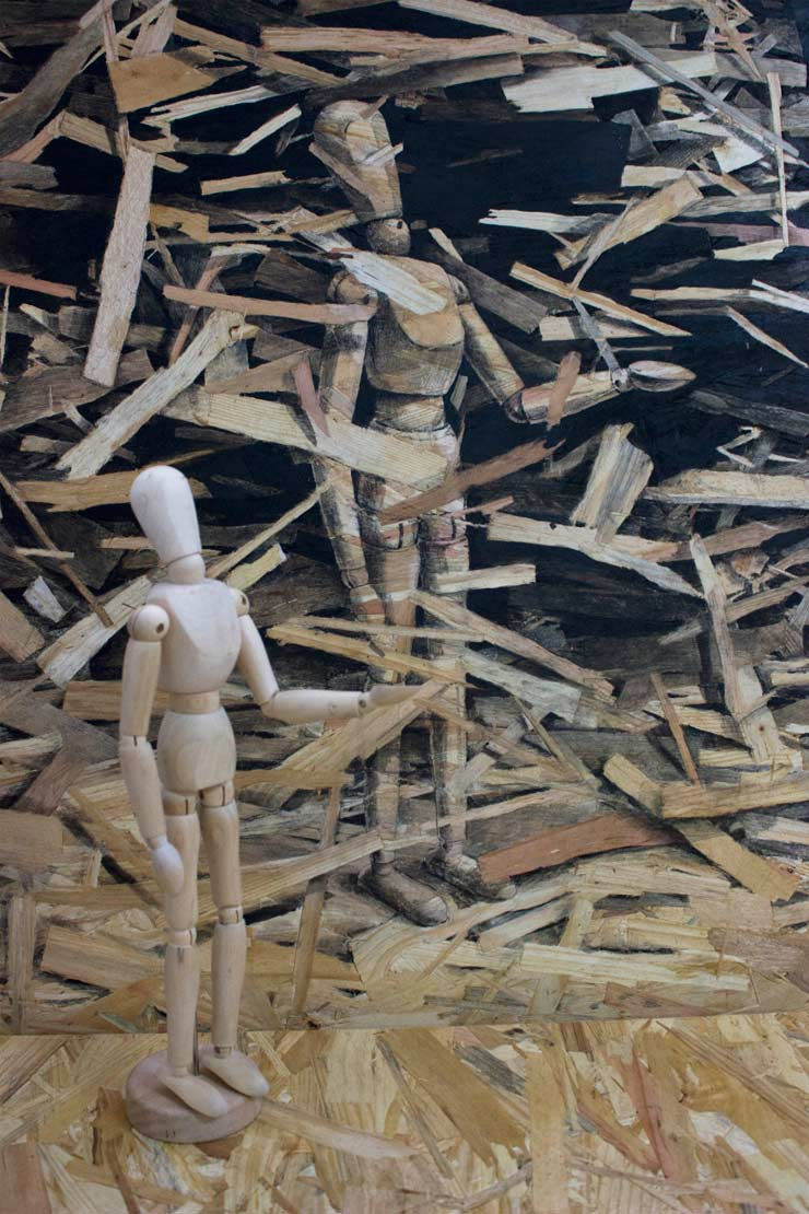 "Pejac is Looking for ""Redemption"" with Particle Board"