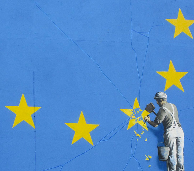 Banksy Hits Brexit With New Piece, MaisMenos & BLU Used EU Flag Earlier