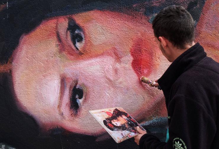 "Elisa Capdevila & Ivan Floro Paint ""Carmencita"" Tilted at 90 Degrees"