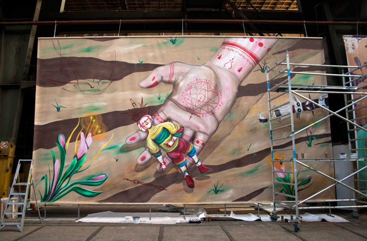 "Skount Paints ""Protection"" for Future Amsterdam Street Art/Urban Contemporary Art Museum"