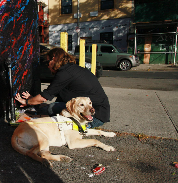 "1st Mural By the Blind & Sighted in Brooklyn: Rubin415 & John Bramblitt for ""World Sight Day"""