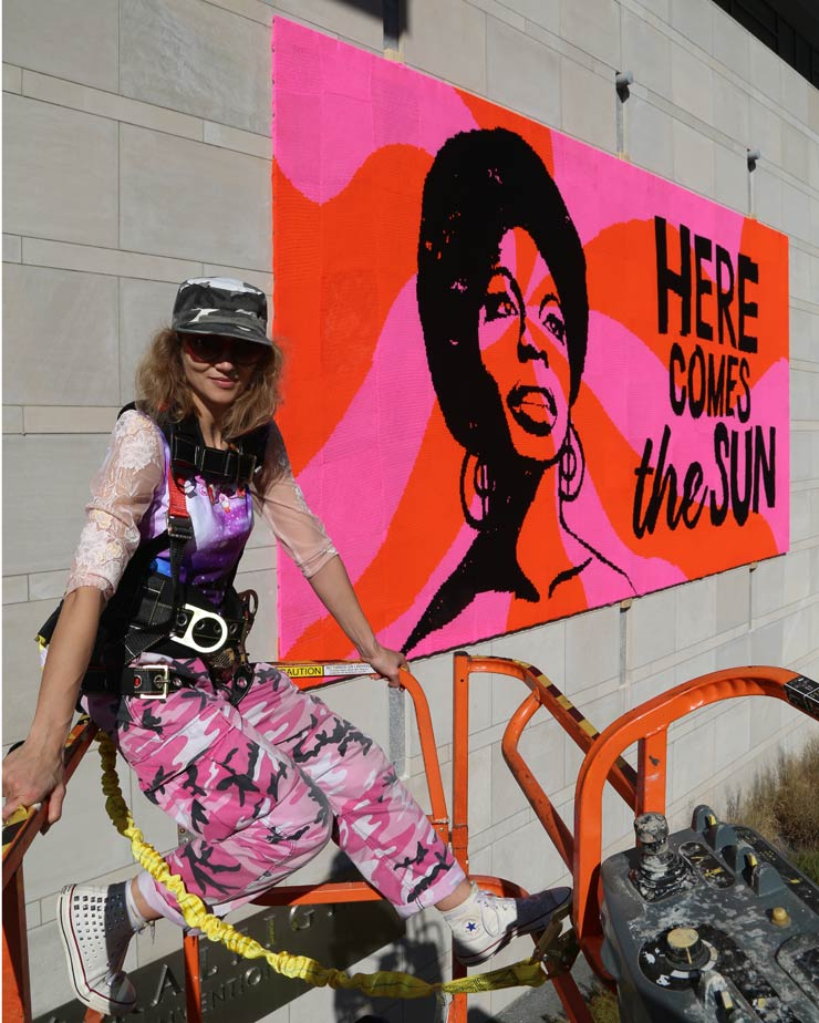Street Artist OLEK and Volunteers Create NINA SIMONE Tribute in Raleigh, NC